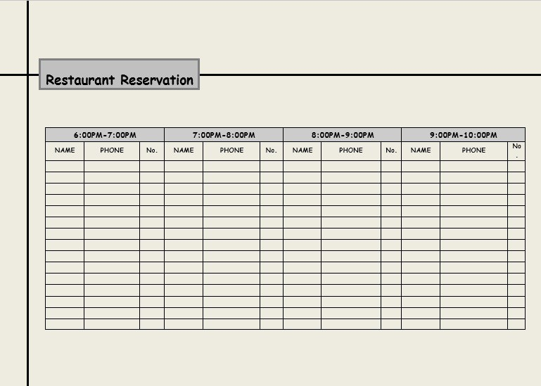 restaurant reservation template excel   Gecce.tackletarts.co