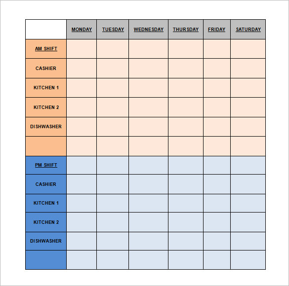 Restaurant Schedule Template   Simple