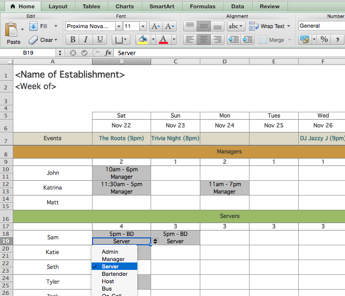 Restaurant Employee Scheduling Template for Excel | 7shifts