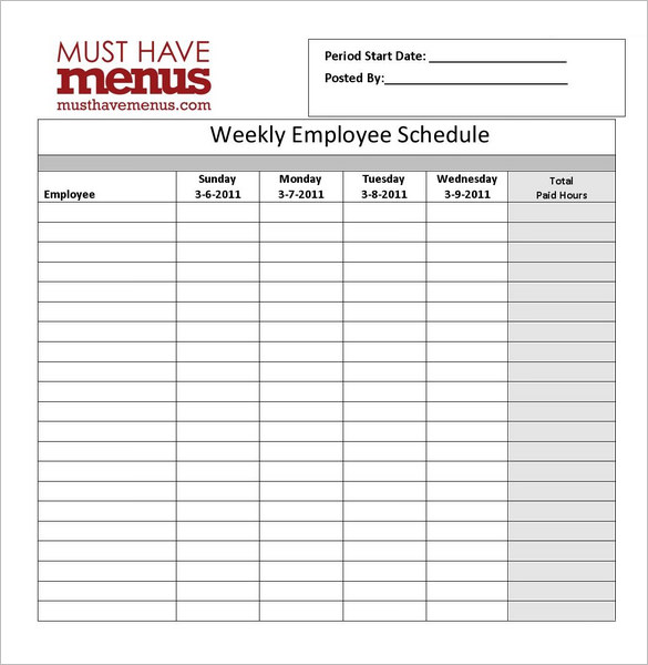 2018 11 weekly work schedules blank weekly work schedule template