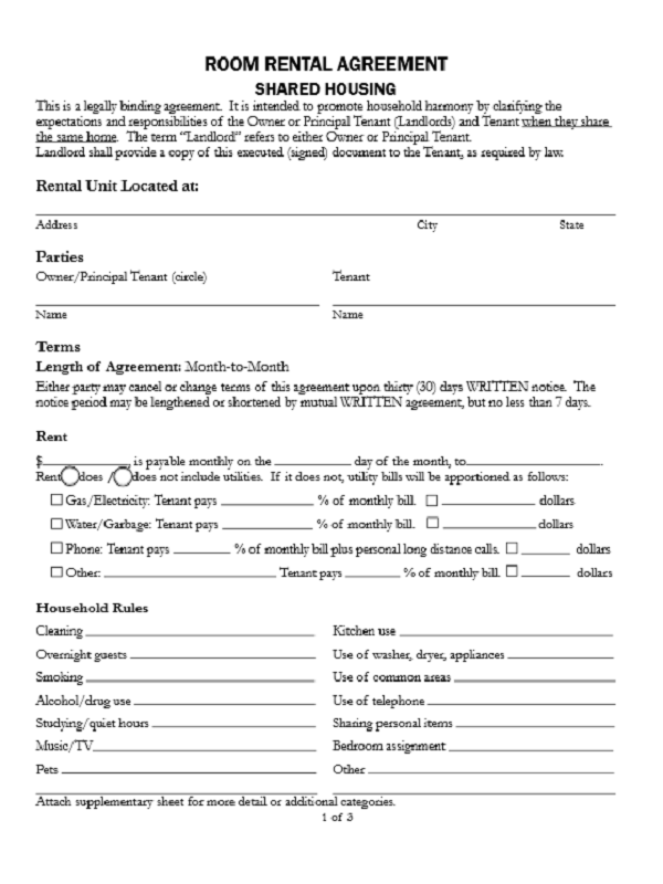 Room Lease Agreement Template | charlotte clergy coalition