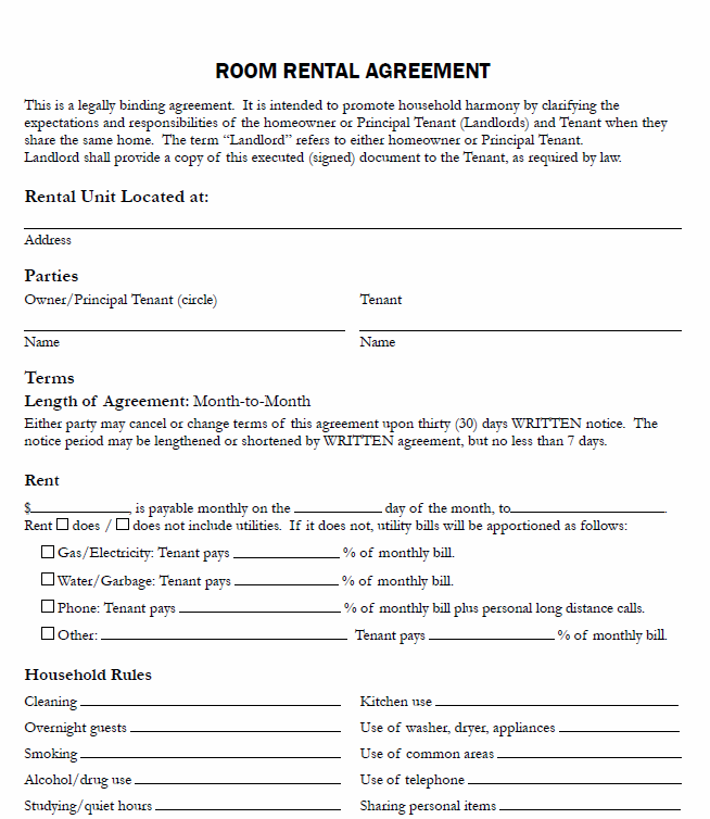 room rental agreement templates   Kleo.beachfix.co
