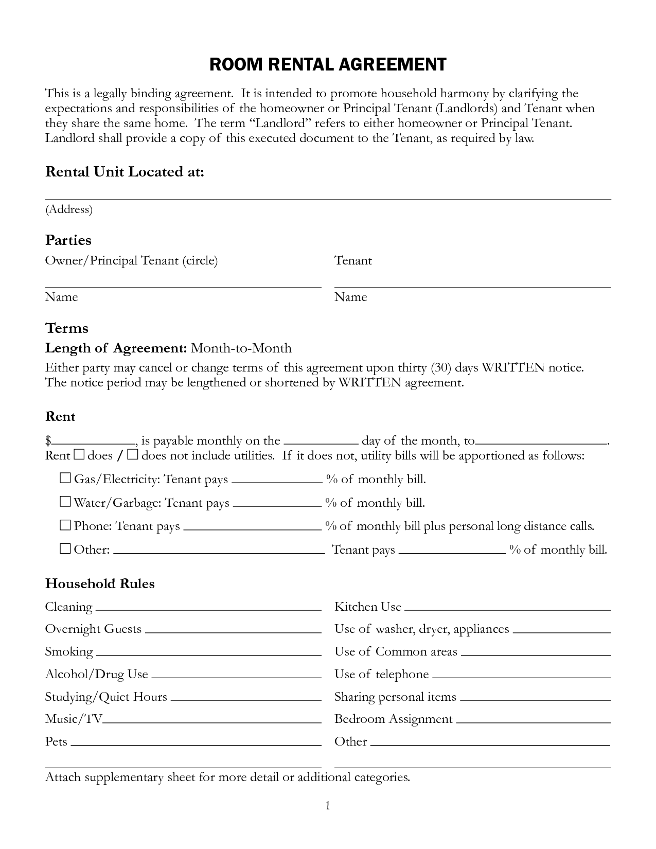 Interesting Room Rental Lease Agreement Form Template with Unit