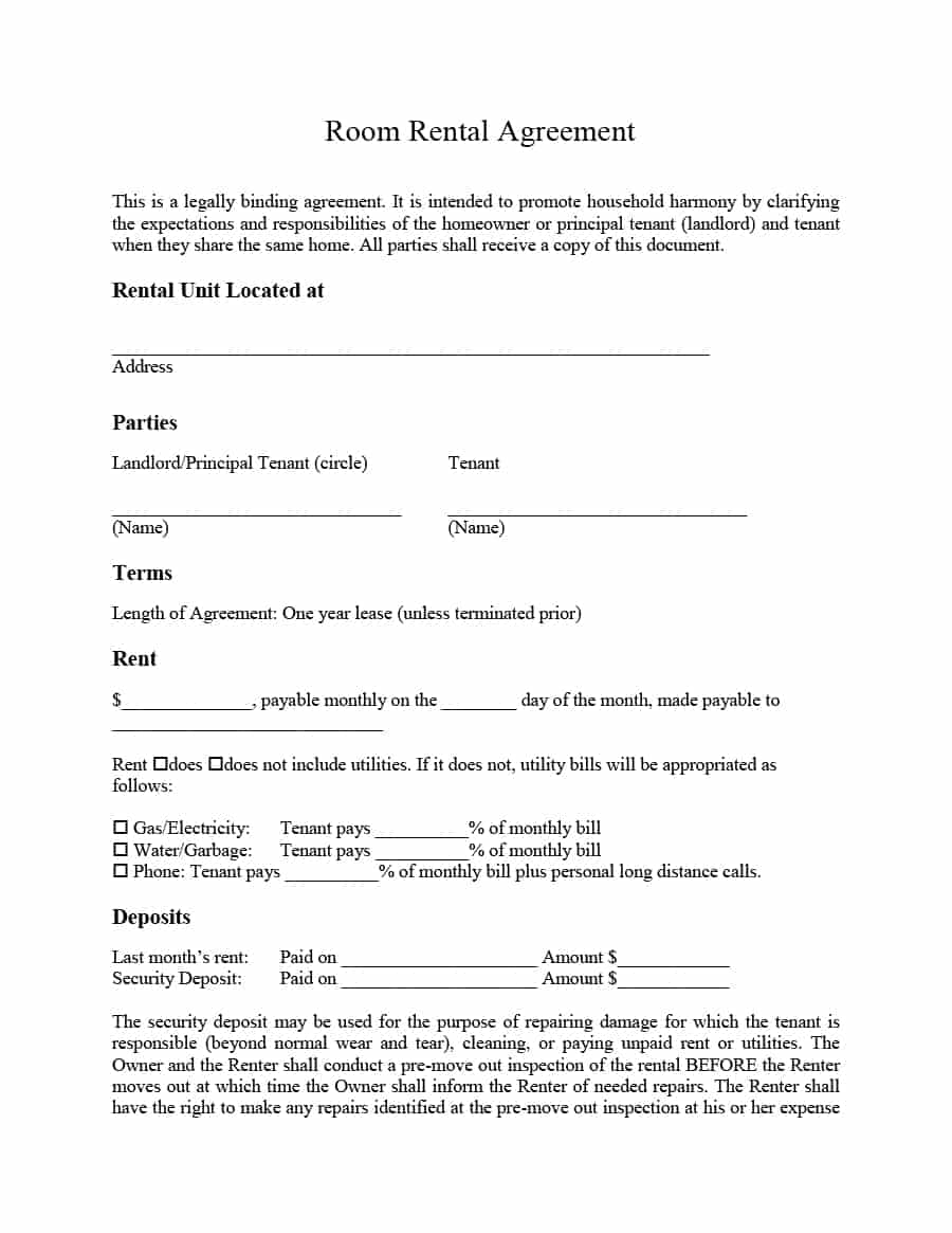 Superior 39 Simple Room Rental Agreement Templates Template Archive