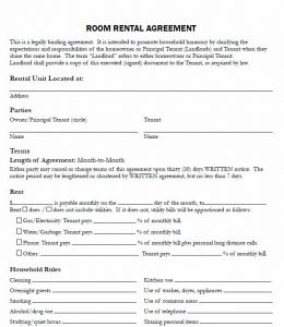 Lease Agreement For Renting A Room In My House