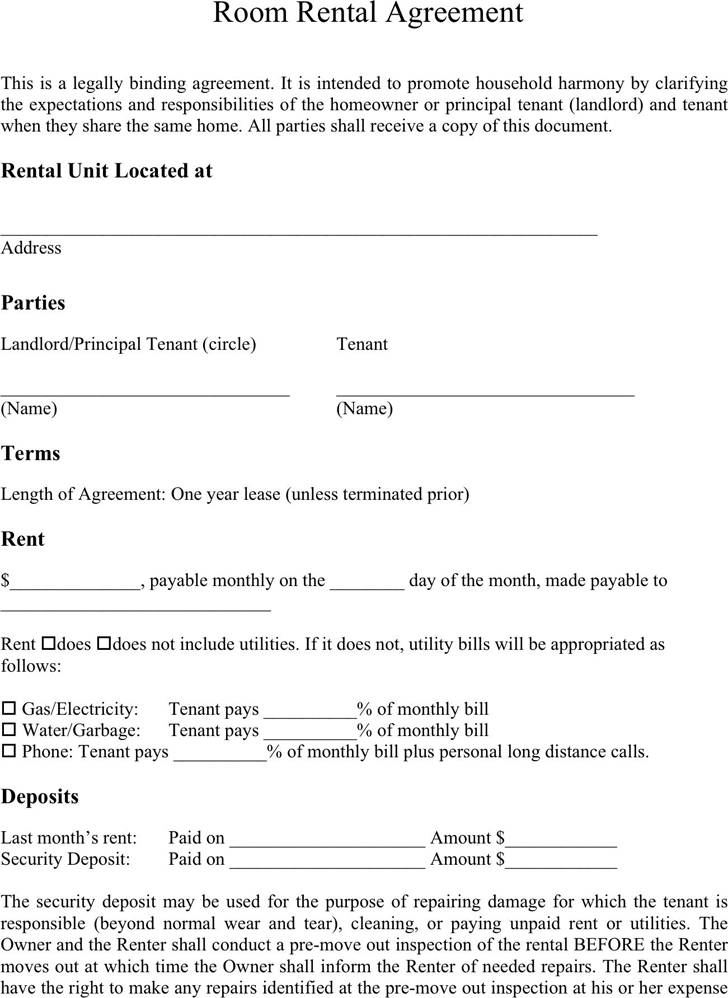 Room Rental Agreement 1 Products Pinterest Room Sample Of Lease