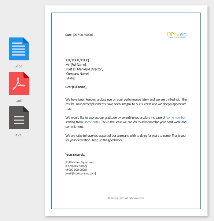 Charming Salary Increment Letter 14 Best Printable Samples And Formats
