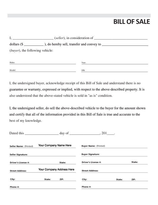 Vehicle Bill of Sale, Form #3, Item #7833
