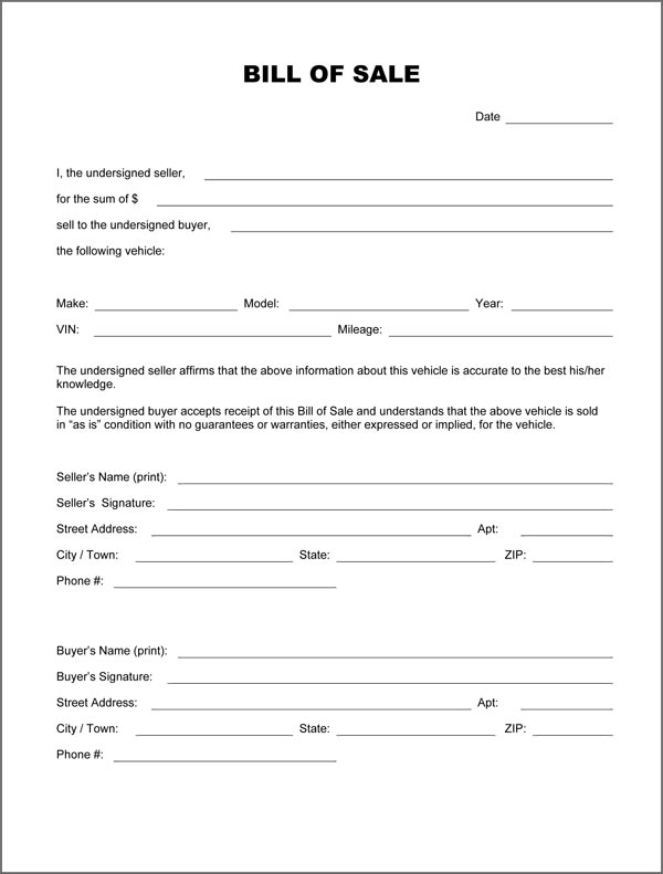 bill of sale form for motor vehicles   Gecce.tackletarts.co