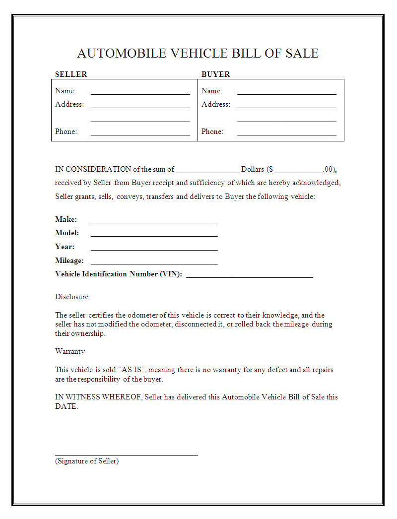 printable bill of sale form car   Gecce.tackletarts.co