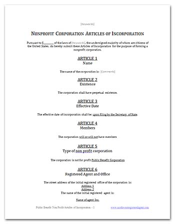 Articles of Incorporation Worksheet   Articles of Incorporation