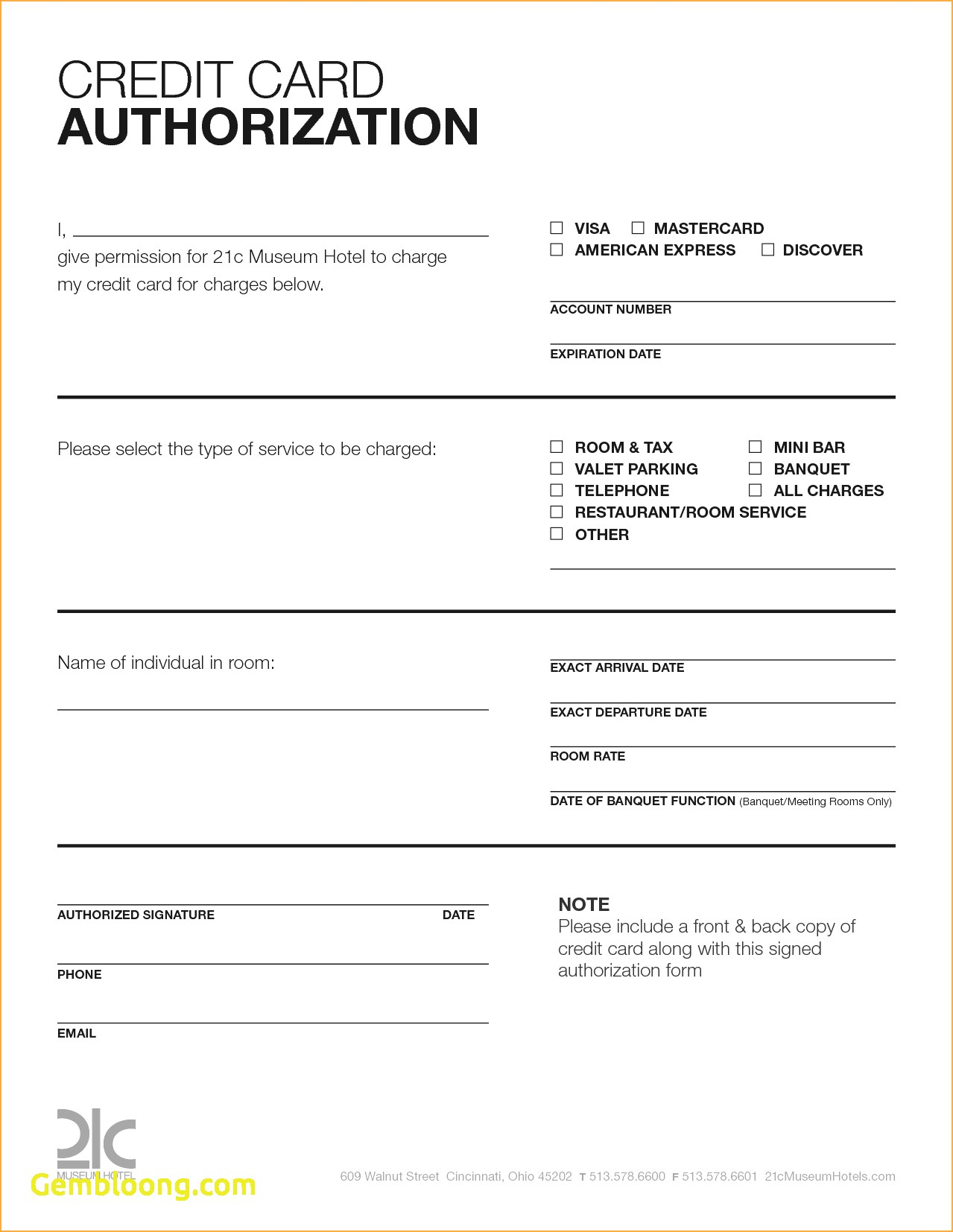 sample credit card authorization form template credit card