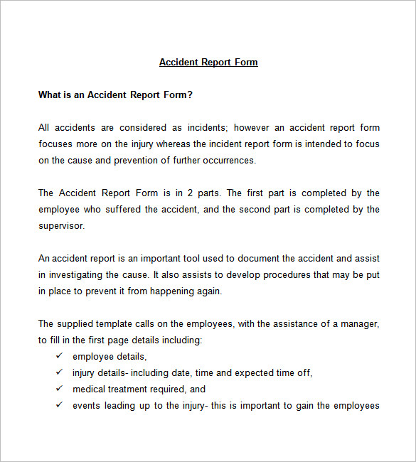 Sample Employee Incident Report Letter