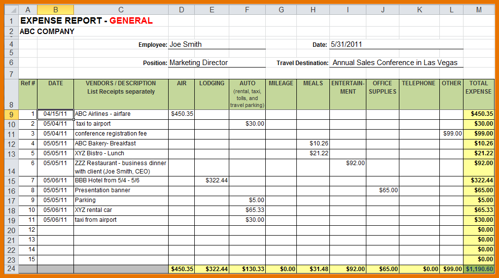 Sample Expense Report | charlotte clergy coalition
