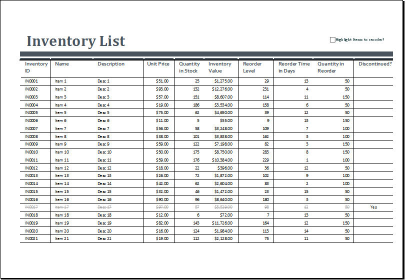 sample of inventory sheet