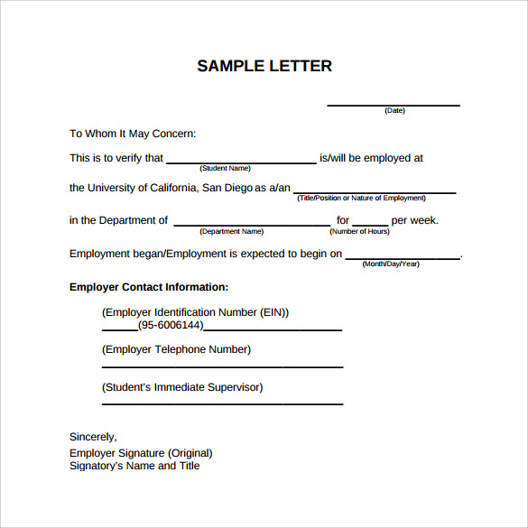 proof of employment letter format