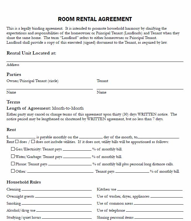 room agreement template lease agreement for renting a room