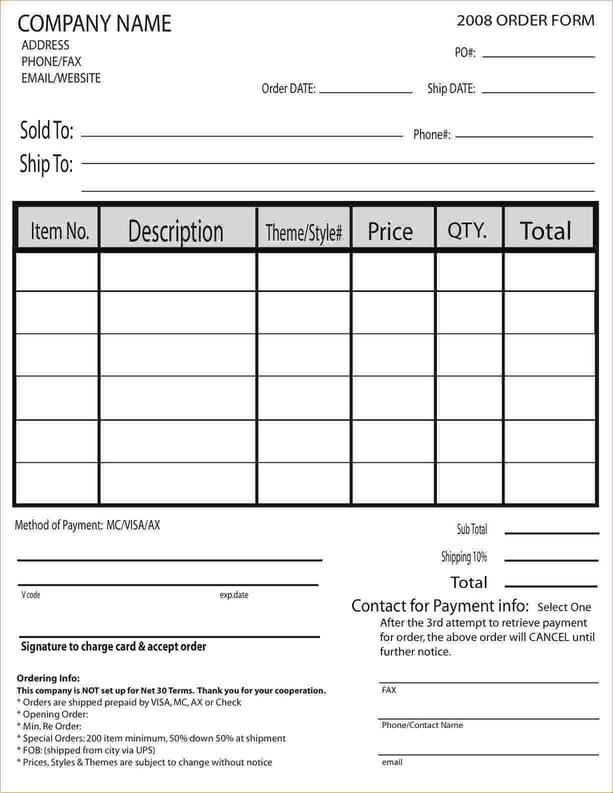 sample of order forms   Tier.brianhenry.co