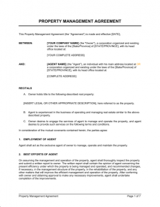 similar posts property management agreement template
