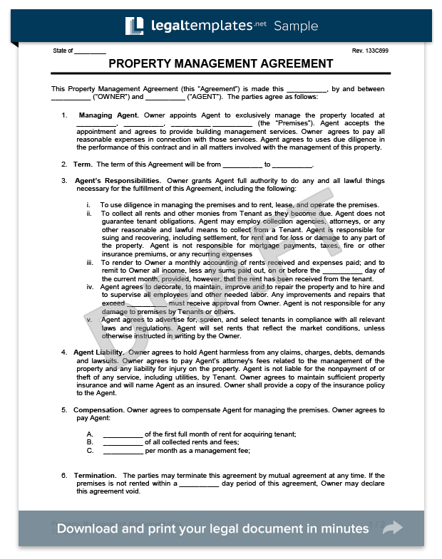 property management services agreement template landlords property