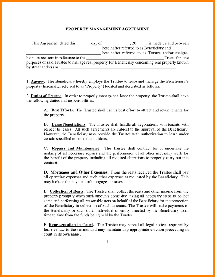 property management agreement template property management
