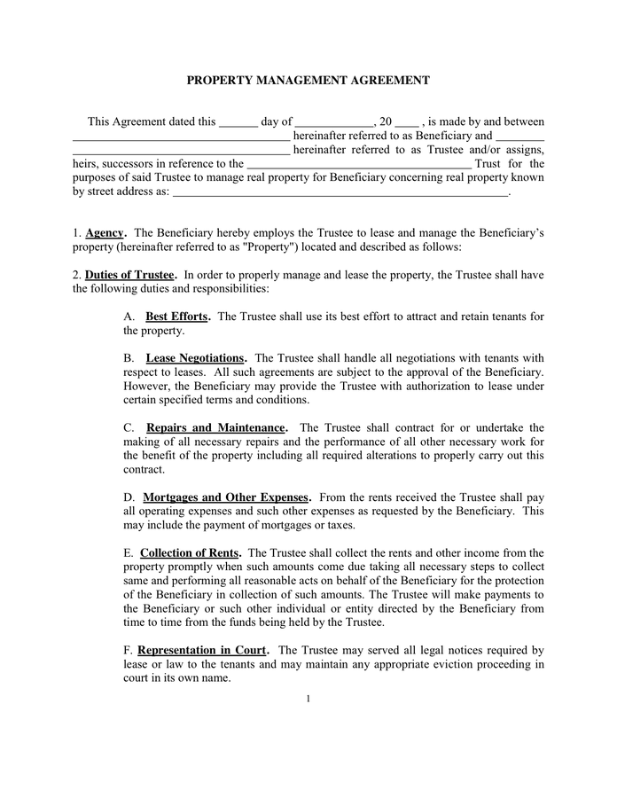 property management agreement template rental management agreement