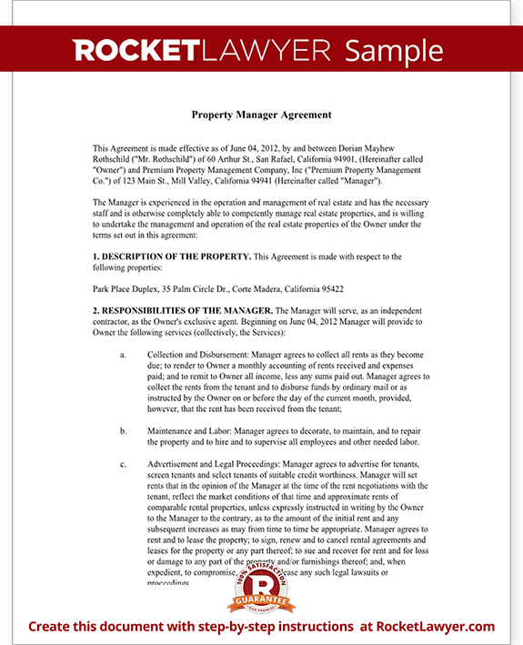 Property Management Agreement Template | Rocket Lawyer
