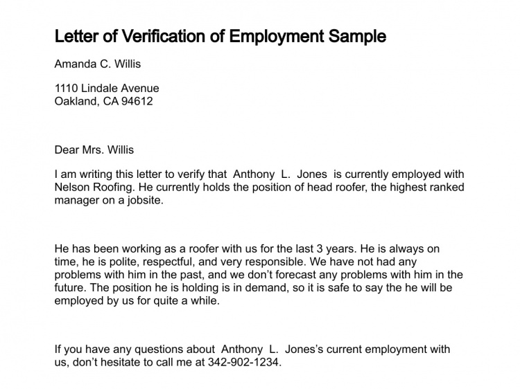 Sample Verification Of Employment Letters Charlotte Clergy Coalition
