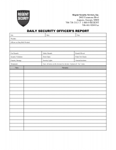 Security Guard Daily Activity Report Sample   charlotte