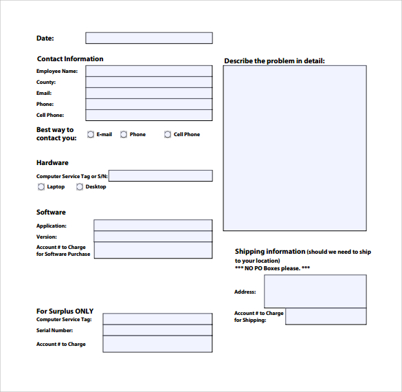 service call form template sample computer service request form 12