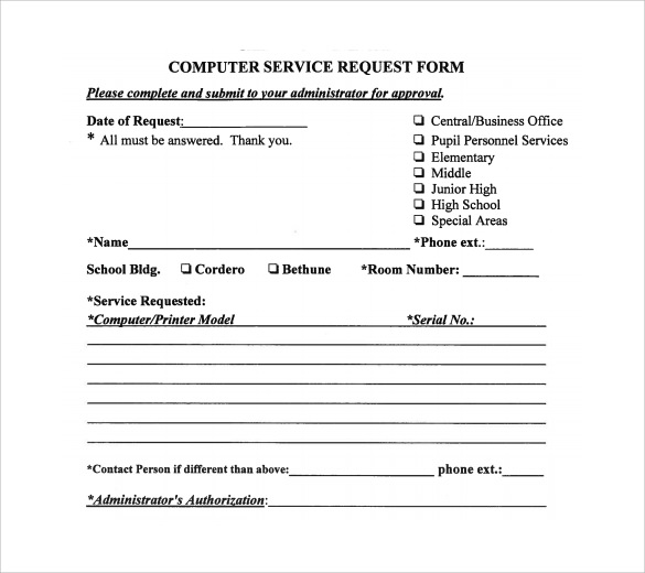 service call form template service request template excel tempo