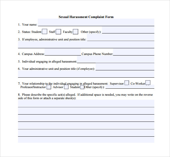 Sexual Harassment Complaint Template