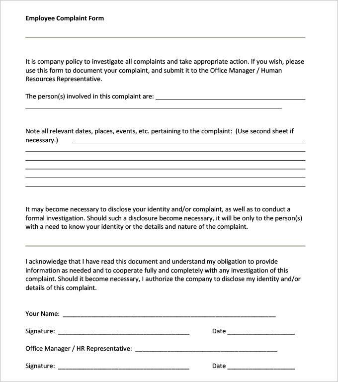 Sexual Harassment Complaint Form : Sample Forms