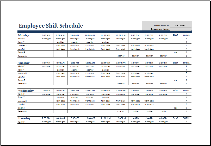 employee shift schedule   Gecce.tackletarts.co