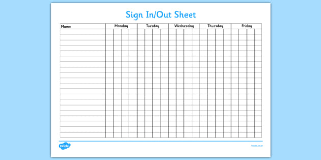 Sign In and Out Sheet   sign in, sign out, sign, sheet, record