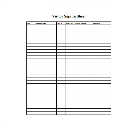 Sign In Sheet Template Free | charlotte clergy coalition