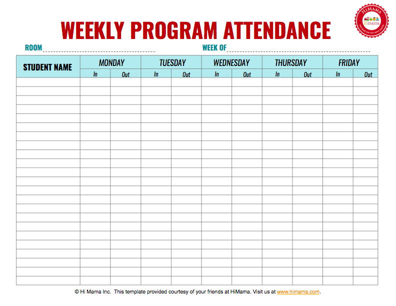 HiMama   Daycare Sign In Sheet Template: Child Care Attendance Form