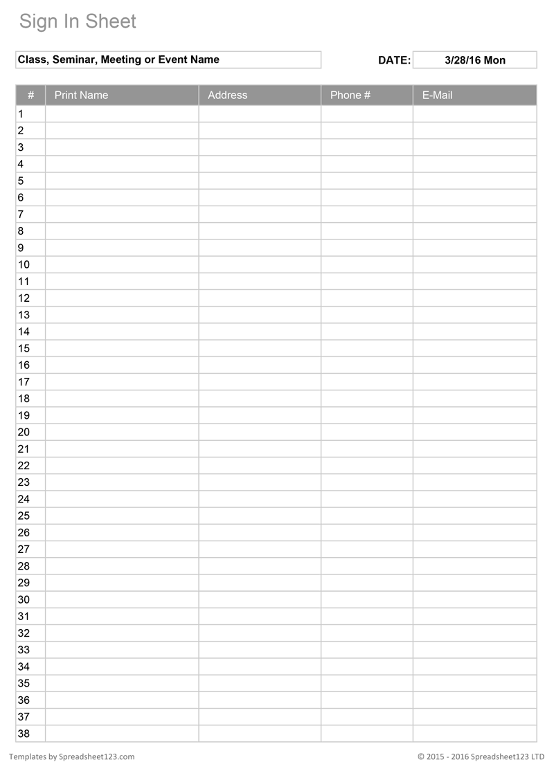Printable Sign In Sheet   Visitor, Class, and Meeting Sign In Sheets