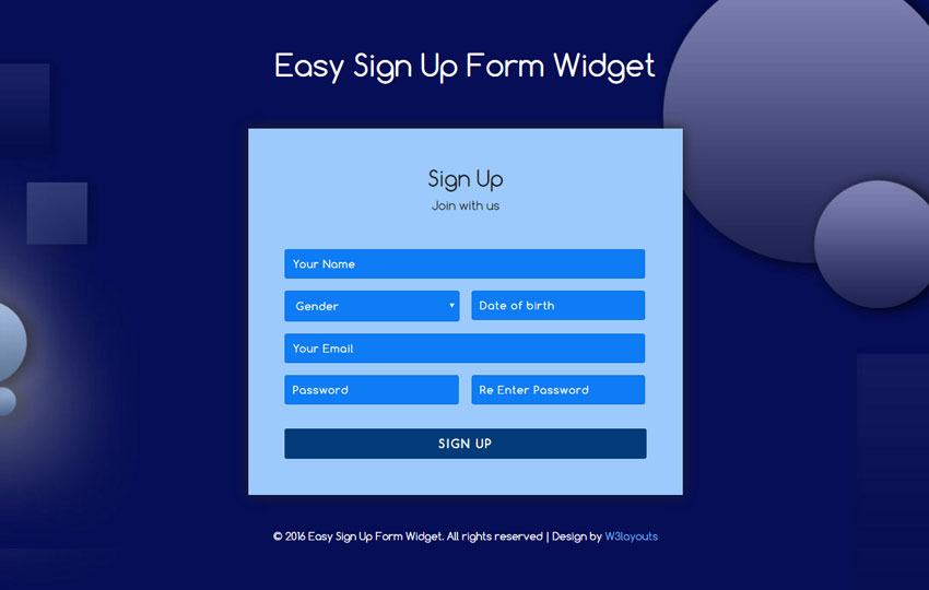 Easy Sign Up Form Widget Flat Responsive Widget Template