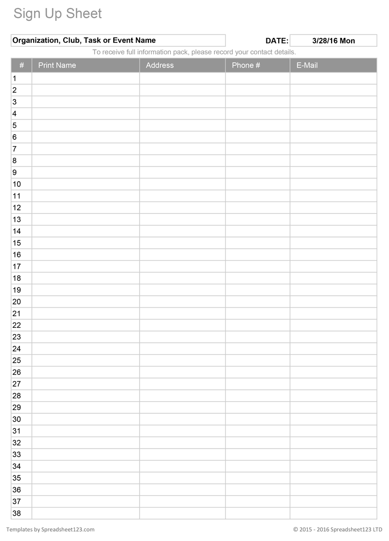 printable sign up sheet template free   Kleo.beachfix.co