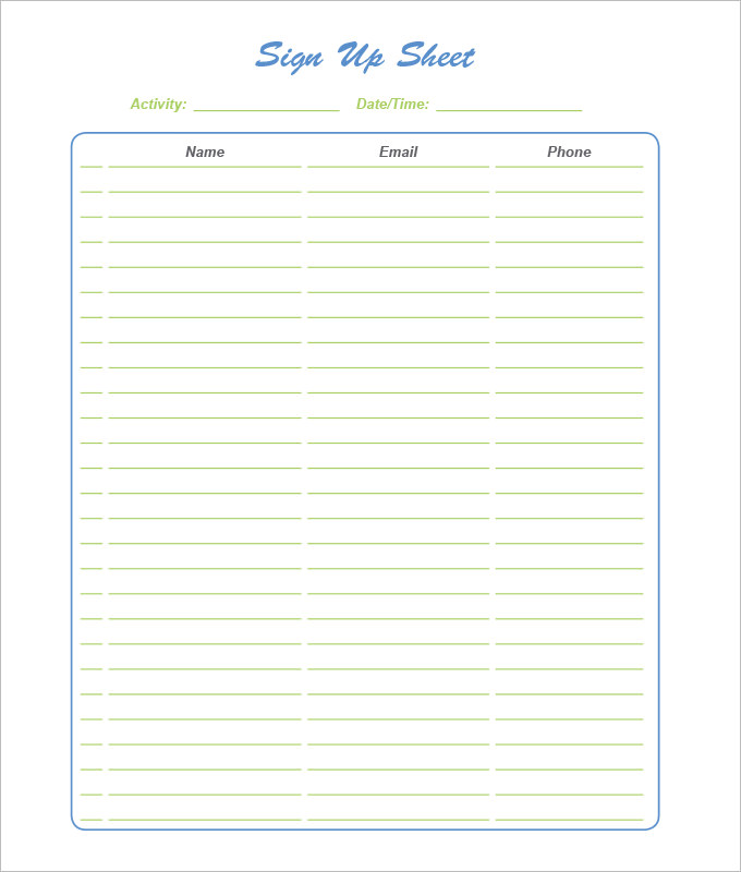 Sign Up Sheet Template   7+ Free Download for Word, PDF | Sample