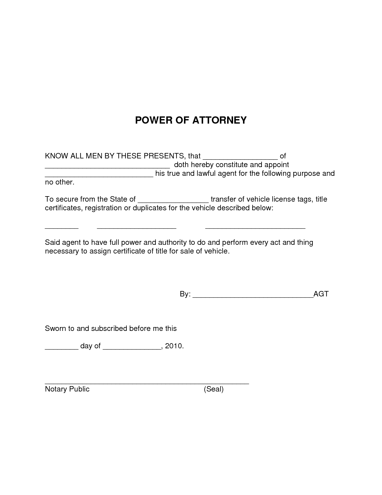 simple power of attorney template   Kleo.beachfix.co