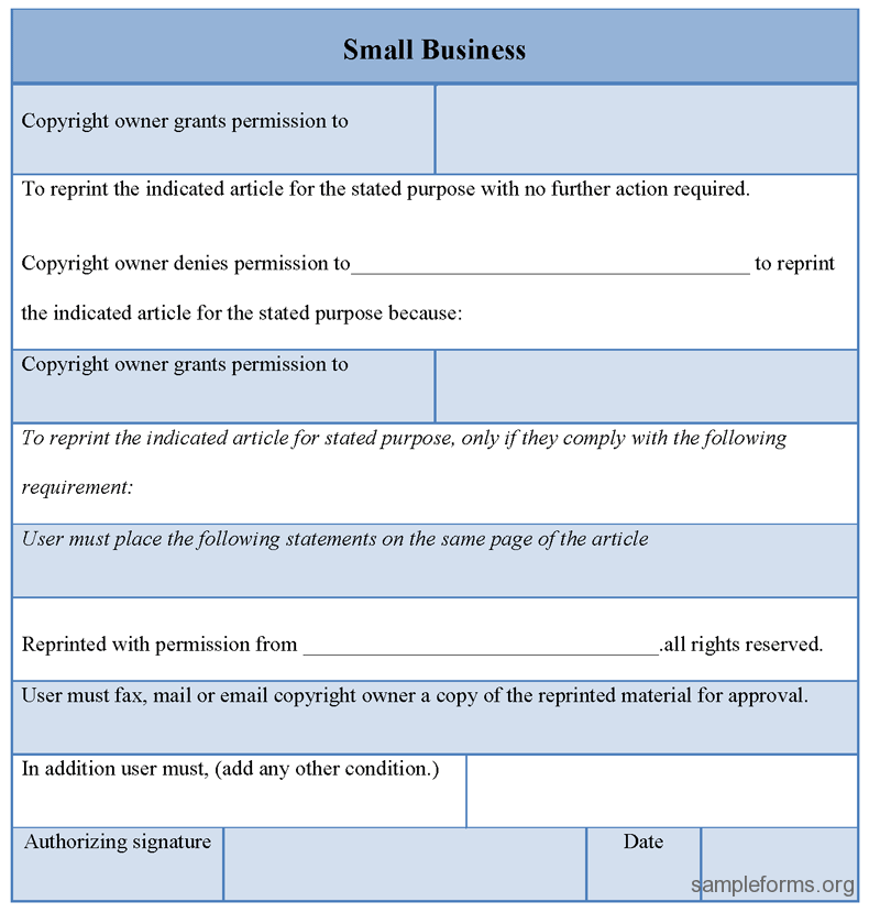Printable Small Business Form : Sample Forms