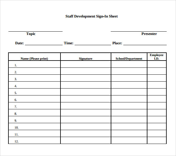 Employee Sign In Sheet Template   11+ Free PDF Documents Download