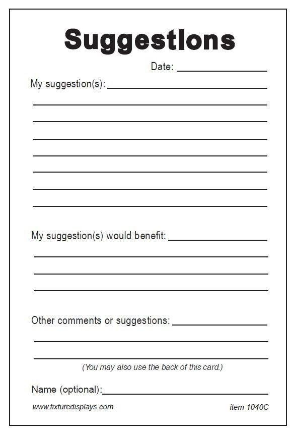 Comment Card Template Microsoft Toretoco Suggestion Card Template