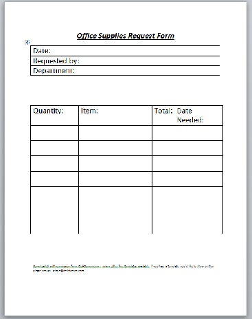 Office Supplies Request Form Template
