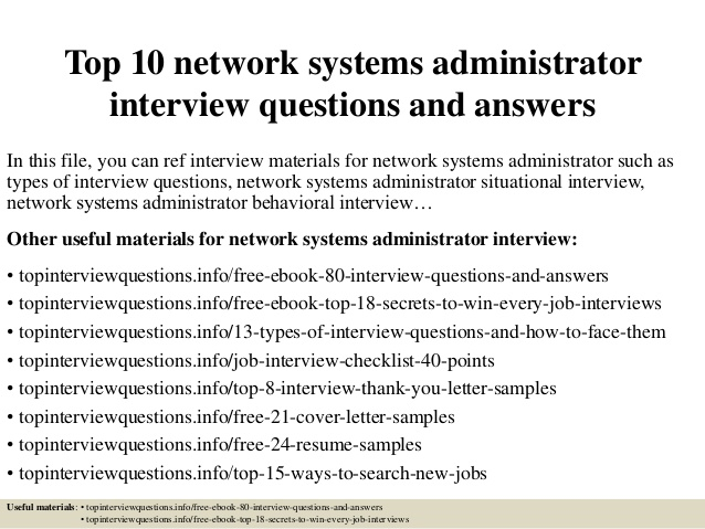 Top 10 network systems administrator interview questions and