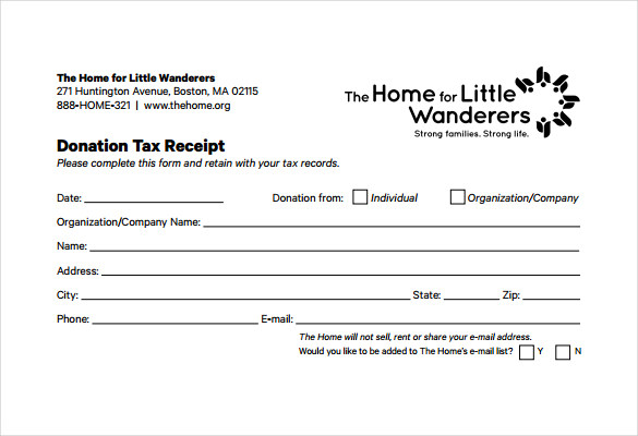 Tax Deductible Donation Receipt Template | charlotte clergy coalition