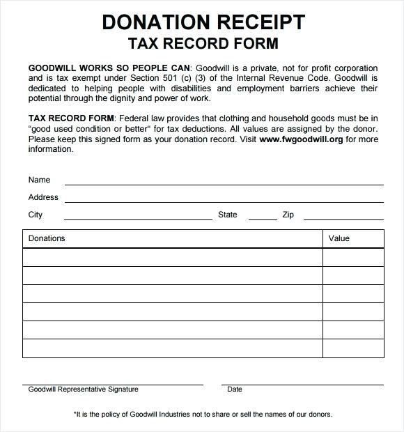 tax deductible donation form template template for donation