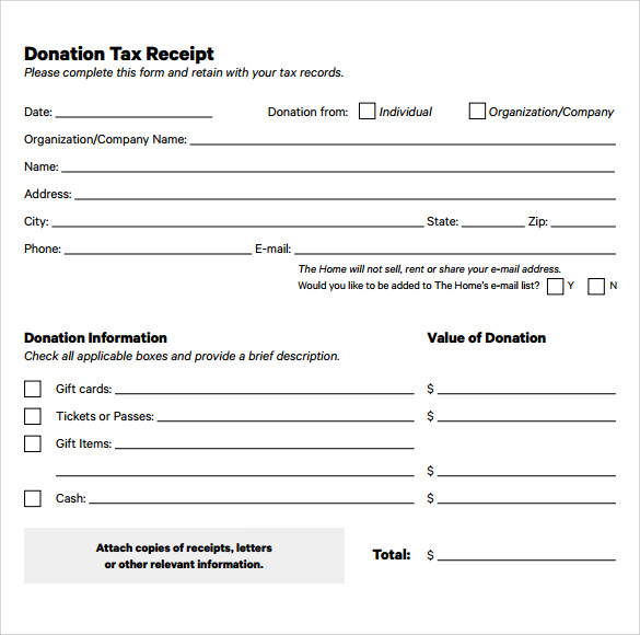 tax donation form template donation receipt form template